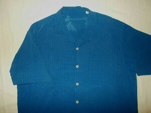 TOMMY BAHAMA SHORT SLEEVE BLUE STRIPED SILK BUTTON SHIRT MENS XL EXCELLENT COND
