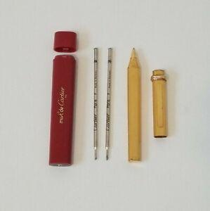 Cartier Vendome Pen Gold Plated + 2 Extra Refills & Cartier Refill Holder!