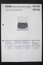 Saba compact ENREGISTREMENT LECTEUR CSP 358 L'INSTRUCTION DE SERVICE/Diagram/