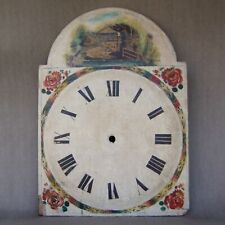 Antique / Vintage Grandfather Tall Case Clock Painted Wood & Plaster Dial Face