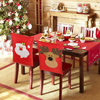 4 6 Christmas Reindeer Dining Chair Back Party Covers Xmas Table Decoration Gift