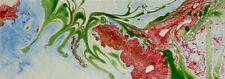 Alizirine. Suminagashi. L'arbre du printemps -  11 x31cm, passepartout 20 x 40cm