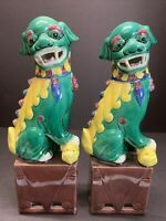 """Antique 19th C. Foo Dog Statue Porcelain Chinese Fu Lion Pair Guardian 10"""" Tall"""