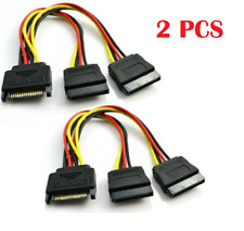 2x SATA Power 15 pin Y Splitter Cable Adapter Male to Female for HDD Hard Drive