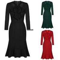 Women Vintage Style Pencil Dress Long Sleeve Lace-up Bow Square Collar RCAI