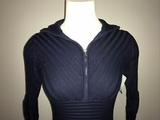 Athleta Navy Blue Knit Bodycon Sweater Dress With Quarter Front Zip, Size XXS
