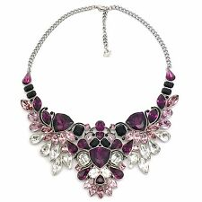 Collar De Swarovski cristales grandes paladio impulso 38cm Negro Epoxi 5152821 Babero