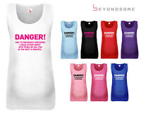 WOMENS DANGER DUE TO PREGNANCY MATERNITY VEST TANK TOP FUN BABY SHOWER GIFT
