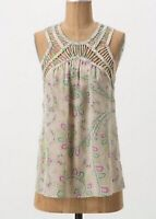 Leifnotes Anthropologie Silk Blouse Size 4 Idella Floral Tank Top S Summer