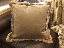 "POTTERY BARN FAUX FUR TRIMMED VELVET PILLOW COVER 20""  MOCHA COLOR New wIth tag"