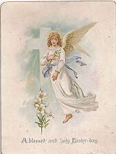 c1890-1899 Victorian Easter Card, Angel, Cross, Easter Lilies, Gold Edge
