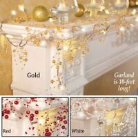 10-Feet Cordless Lighted Silver Berry-Beaded Holiday Christmas Garland 3 Colors