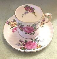Aynsley England Demitasse Tea Cup and Saucer with Swirls and Flowers, Circ 1934