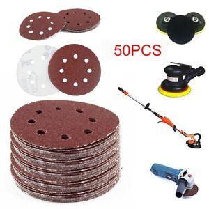 50Pcs 125mm Grit Papier de Verre Ponçage Polissage Abrasif Disque 8 trous 40-240
