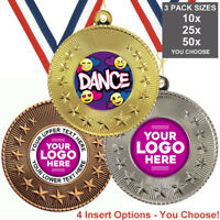 DANCE COOL EMOJI METAL MEDALS 50mm, PACK OF 10, RIBBONS, INSERTS or OWN LOGO