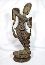 Antique Burmese Wooden Statue of a Dancer 63cm Tall