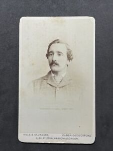 Victorian CDV: Dapper Gent Named Howell Cambridge County Cricket: Hills Saunders
