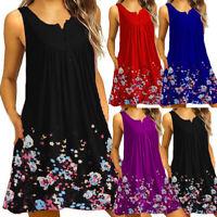 Women O Neck Print Pocket Lace Short Sleeve Mini Dress Loose Party Dress DZ