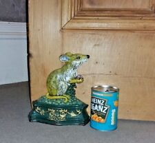 """Vintage Antique Cast Iron Field Mouse Doorstop Painted Colourful Heavy 8"""" tall"""