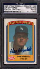 1990 SWELL BASEBALL GREATS #62 DON DRYSDALE PSA/DNA SIGNED AUTO JGR0825