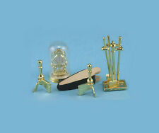 1/12 Scale Dollhouse Miniature Brass Fireplace Accessories Set #Im66235