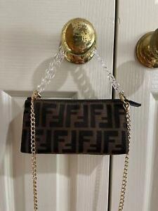 Authentic FENDI Signature ZUCCA TOBACCO Handbag Cosmetic Case with strap EUC