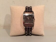 Michael Kors MK-2064 Rare Vintage Style Brown Silver Stainless Steel Watch!