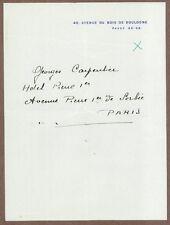 Georges Carpentier, French Boxer, Actor, WWI Pilot, Author, Signature, COA