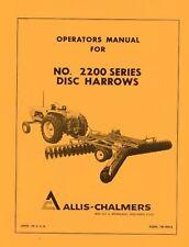 Allis Chalmers No 2200 Series Disc Harrow Operators Manual Ac