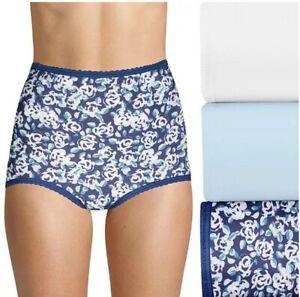 3 Pair Bali Skimp Skamp Cool Cotton Brief Panties DFA332 Blue Asst 8 XL FREE S&H