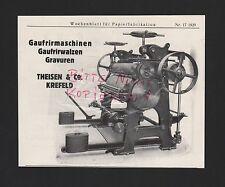 KREFELD, Werbung 1929, Theisen & Co. Gaufrirmaschinen