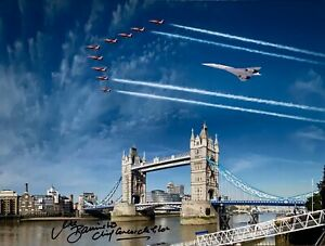 CONCORDE & RED ARROWS 16X12 HAND SIGNED PHOTOGRAPH QUEENS JUBILEE FLYPAST