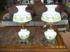 Accurate Cast Co. Retro Vintage Set Of 2 Flower Power Vtg Hurricane Table Lamps