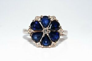 $1,100 1.56CT NATURAL BLUE SAPPHIRE & DIAMOND FLOWER RING 14K ROSE GOLD