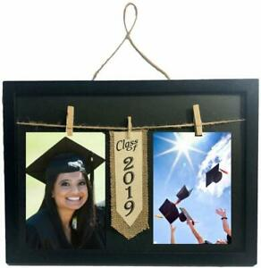 Class of 2019 Frame with Clothespin Clips for Two 4 x 6 inch Collage Photo Black