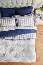 Anthropologie Hothouse Bedding Queen Quilt 2 Euro Shams Navy Blue 100% Cotton