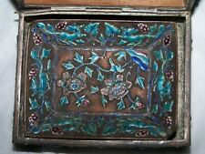 Antique Chinese Cloisonne Enamel Box With Tray Inside Beautiful Grapes Squirrels