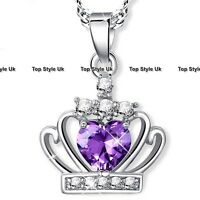 XMAS GIFTS FOR HER - Purple Crystal Heart Queen Necklace for Women Sister Mum K9
