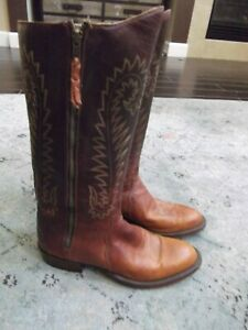 Lucchese Heritage Handmade Classics side western zip tall boots 10D