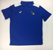 New Asics Angry Bird Performance Blocked 3 Button Polo Shirt Men's Large Blue
