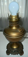 Vintage brass Oil Lamp electric light Ornate base table lamp