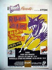 PUBLICITE-ADVERTISING :  ROLLING STONES Urban Jungle  1990 Concerts,Parc Prince