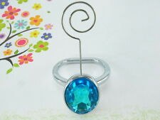 Oval Shaped Ring Memo Photo Card Wire Clip Holder With Aqua Blue Color Gem Stone