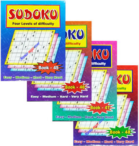 SUDOKU PUZZLE BOOKS TO CHOOSE - A5 SIZE -110 PUZZLES IN EACH TRAVEL BK45-48