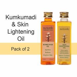 Auravedic Skin Lightening Oil & Kumkumadi Oil Combo Pack of 2 - 100ml x 2