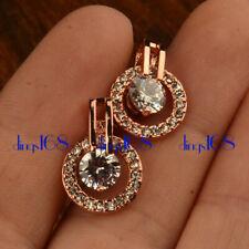 18K Rose Gold Filled TARNISH-FREE 20mm Double Hoop Crystal Stud Post Earring HG4