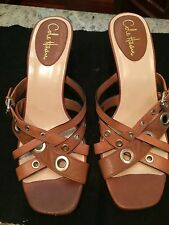 Cole Haan w Nike Air Womens Brown leather open toe high backless heel size 9.5