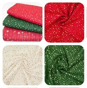 100% Cotton Christmas Fabric METALLIC GOLD SILVER STARS Red Green Ivory Material