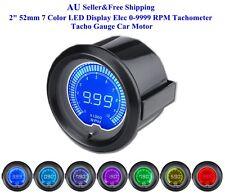 "AU 2"" 52mm 7 Color LED Display Elec 0-9999 RPM Tachometer Tacho Gauge Car Motor"