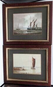 Pair Original Framed Watercolour Paintings Maritime Scene Alan Whitehead